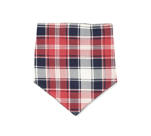 MILKY CHECK BIB RED NAVY OATMEAL