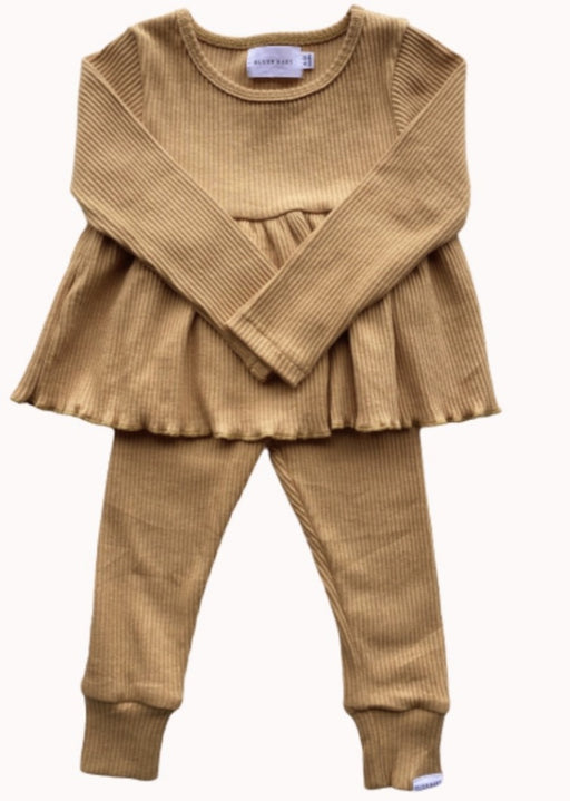 BLUSH BABY RIBBED PEPLUM SET - HONEY