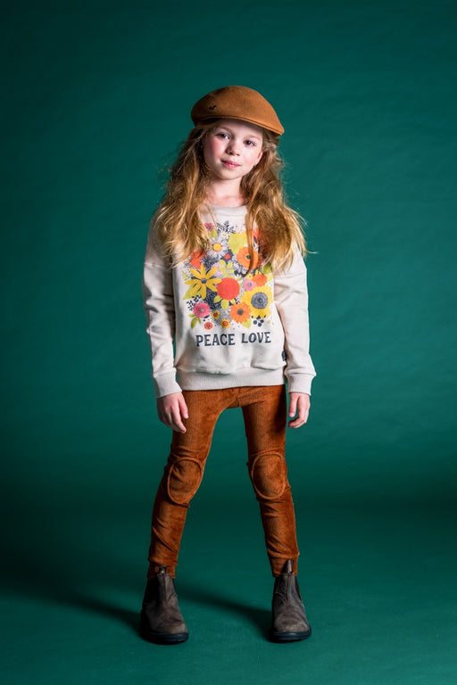 ROCK YOUR KID PEACE LOVE SWEATSHIRT TAUPE