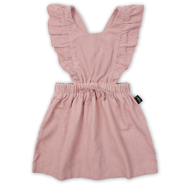 KAPOW KIDS RUFFLE CORDUROY PINAFORE DUSTY ROSE