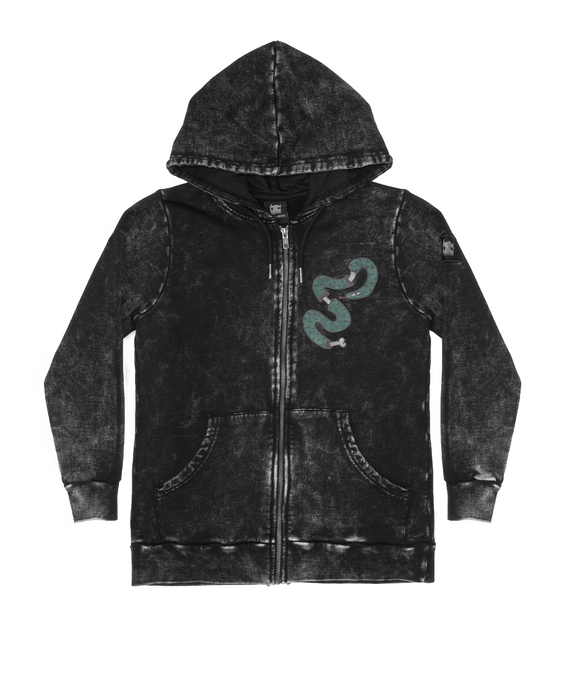 BAND OF BOYS JUMPER SNAKE BONE ZIP HOOD VINTAGE BLACK