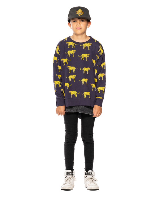 BAND OF BOYS JUMPER YELLOW & BLACK LEOPARD OVERSIZED NAVY