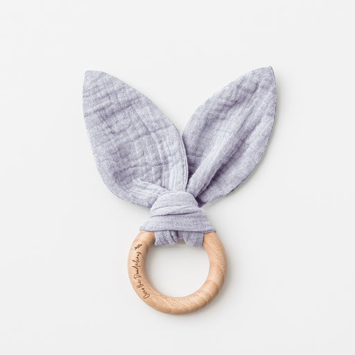OVER THE DANDELIONS MUSLIN BUNNY EARS TEETHER - FROST