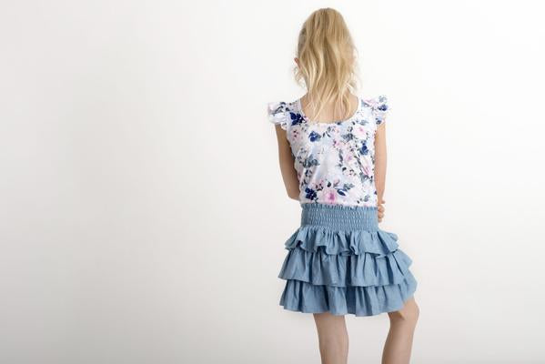 LITTLE HEARTS LUXE FRILL LEOTARD - POWDER BLUE PEONY