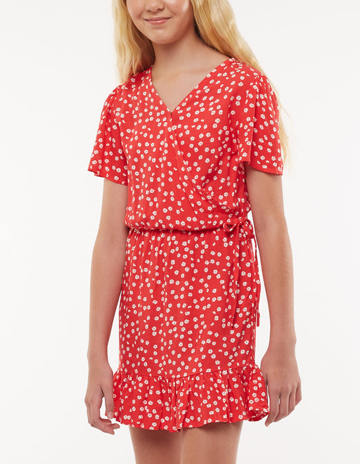 EVE GIRL DAYDREAMS FLORAL DRESS POPPY RED