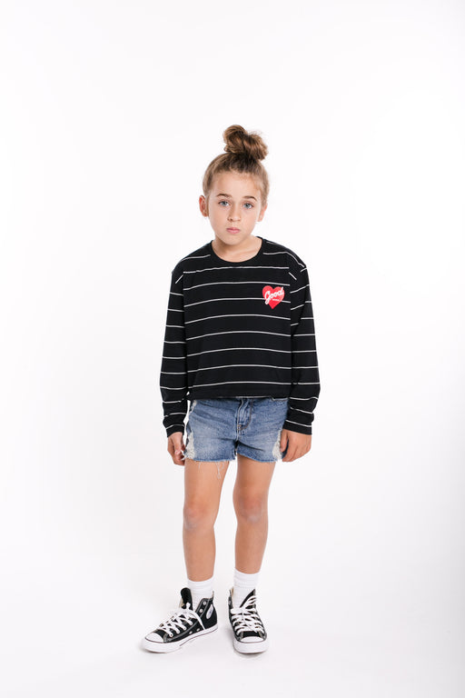 GOOD GOODS L/SLEEVE LEVEL TEE - BLACK STRIPE