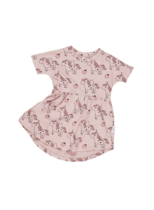 HUXBABY UNICORN SWIRL DRESS BLUSH