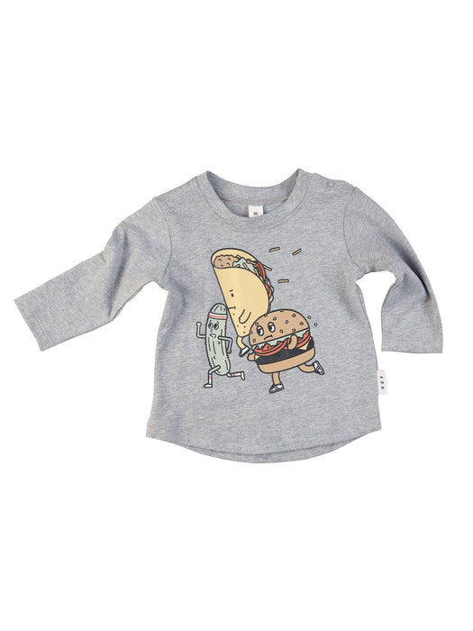 HUXBABY FAST FOOD TOP GREY MARLE