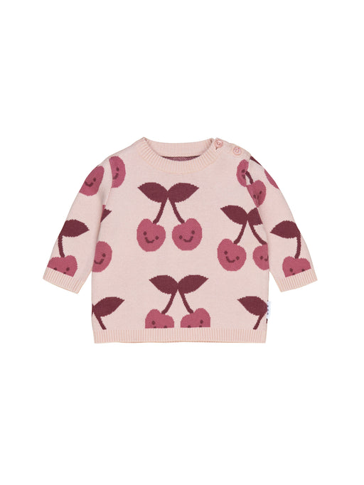 HUXBABY CHERRY KNIT JUMPER ROSE
