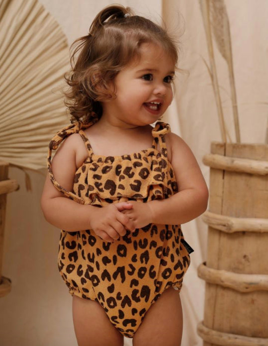 KAPOW KIDS ANIMAL PRINT TERRY TOWELLING BALLOON ROMPER