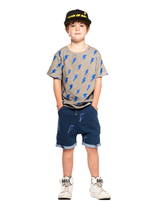 BAND OF BOYS SHORT SLEEVED TEE ITS ELECTRIC SCOOP BACK GREY