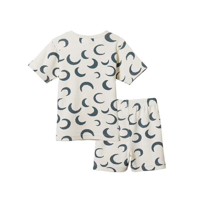 NATURE BABY 2PC RIB PYJAMAS CRESCENT MOON PRINT