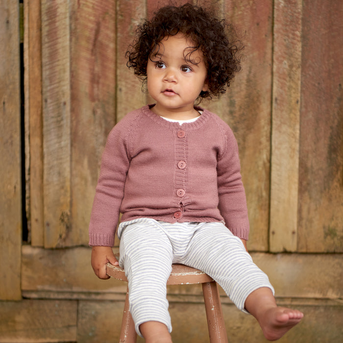 NATURE BABY MERINO KNIT CARDIGAN WOODLAND ROSE