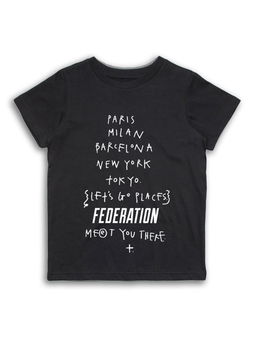 MINI FED NICE PLACES TEE - BLACK