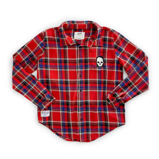 POP FACTORY FLANNO SHIRT - RED CHECK