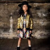 ROCK YOUR KID LONG SLEEVE MIDNIGHT CHINTZ WAISTED DRESS FLORAL