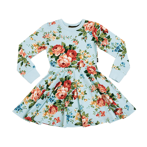 ROCK ROCK YOUR KID LONG SLEEVE FRENCH FLORAL WAISTED DRESS