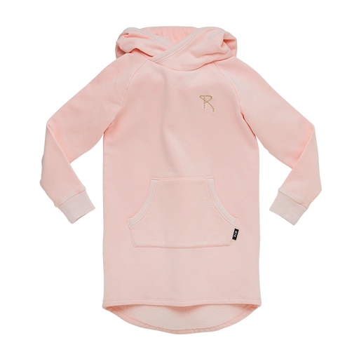 ROCK YOUR KID LONG SLEEVE BUNNY EARS HOODED DRESS MUSK PINK