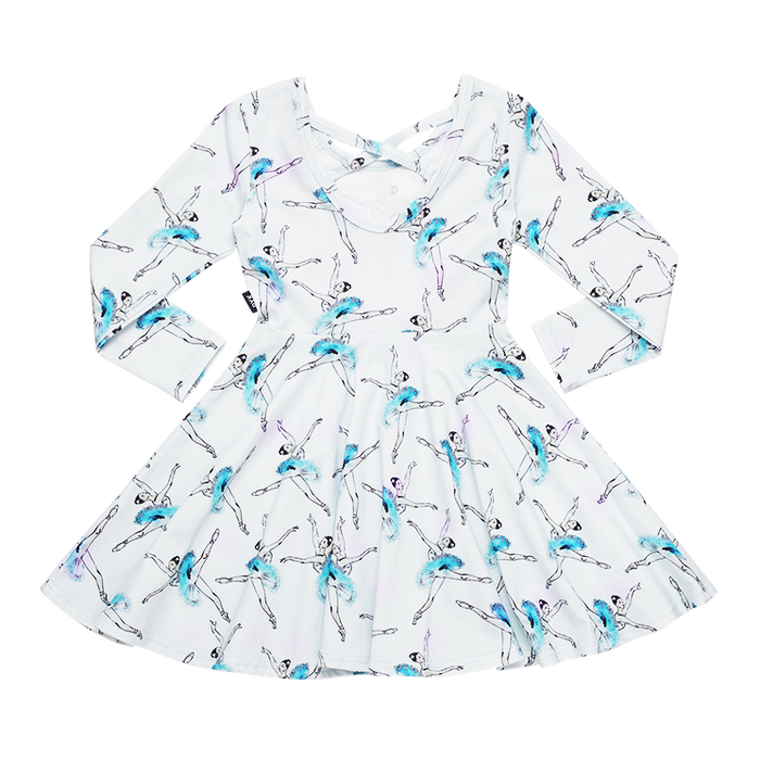 ROCK YOUR KID LONG SLEEVE LETS DANCE WAISTED DRESS BLUE