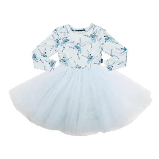 ROCK YOUR KID LONG SLEEVE LETS DANCE FLOUNCE DRESS BLUE (PRE ORDER)