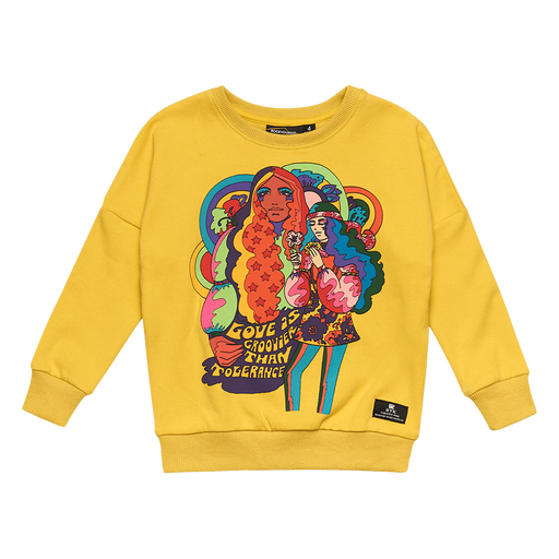 ROCK YOUR KID LOVE IS GROOVY SWEATSHIRT YELLOW