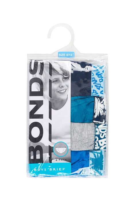 BONDS 4 PACK BOYS BRIEFS - GREY/BLUE