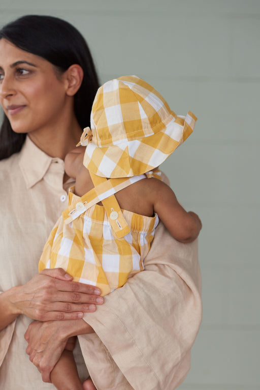 NATURE BABY GINGHAM CLOUD SUIT HONEY CHECK