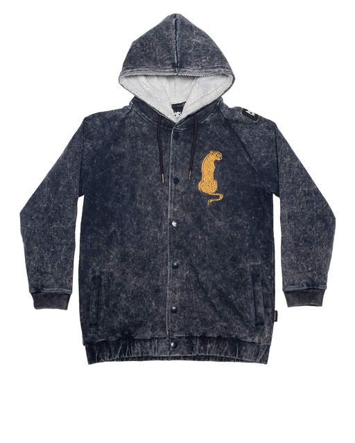 BAND OF BOYS BOMBER JACKET SITTING CHEETAH DENIM BLUE