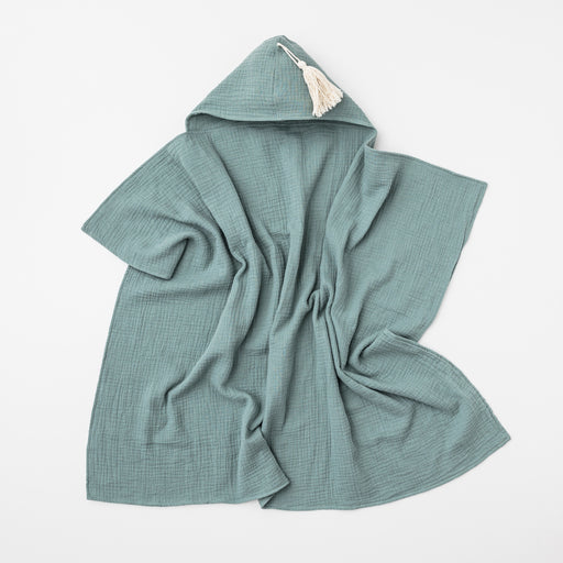 OVER THE DANDELIONS ORGANIC COTTON HOODED TOWEL WITH TASSEL - SAGE
