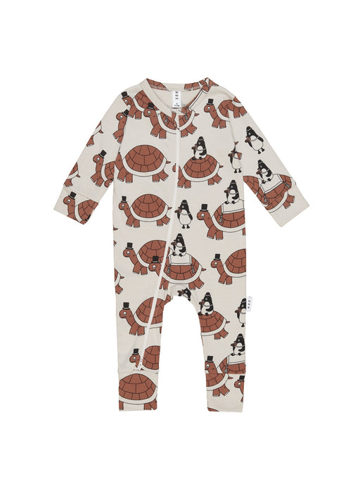 HUXBABY TURTLE TOUR ZIP ROMPER ALMOND