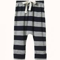 NATURE BABY MERINO ESSENTIAL DRAWSTRING PANTS - NAVY & GREY MARLE BOLD STRIPE