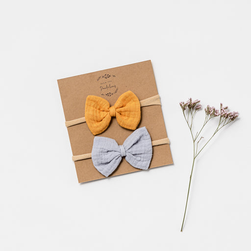 OVER THE DANDELIONS MUSLIN BOW HEADBANDS - SAFFRON & FROST