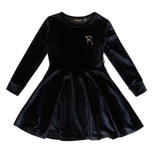 ROCK YOUR KID LONG SLEEVE WAISTED DRESS BLUE VELVET