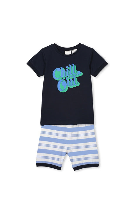 MILKY CHILL OUT PJS MIDNIGHT BLUE STRIPE