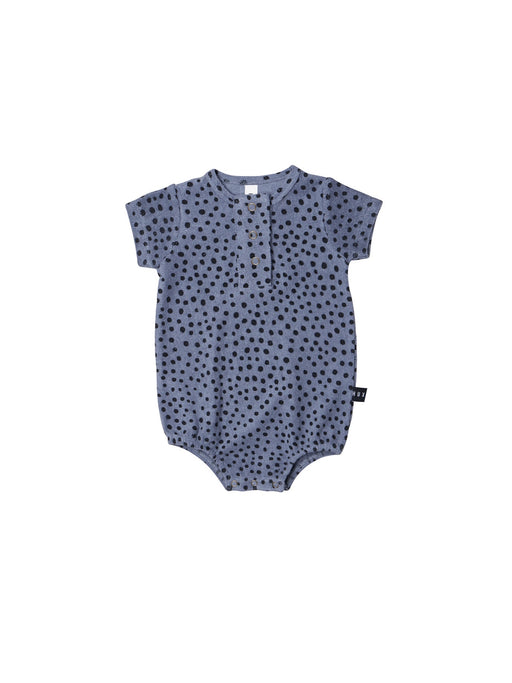 HUXBABY DEEP BLUE FRECKLE BUBBLE ONESIE
