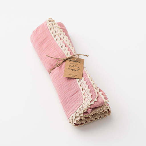 OVER THE DANDELIONS ORGANIC MUSLIN SWADDLE WITH  LACE TRIM - SHELL PINK