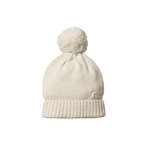 NATURE BABY ALPINE POM POM MERINO BEANIE NATURAL