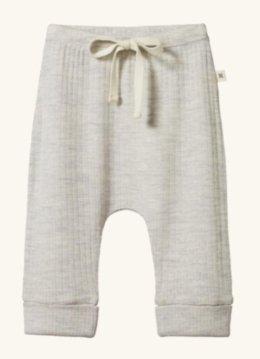 NATURE BABY MERINO ESSENTIAL DRAWSTRING PANTS POINTELLE LIGHT GREY MARLE