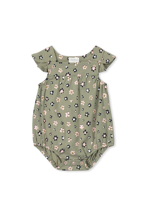 MILKY BABY DAISY FLORAL PLAYSUIT TEA GREEN