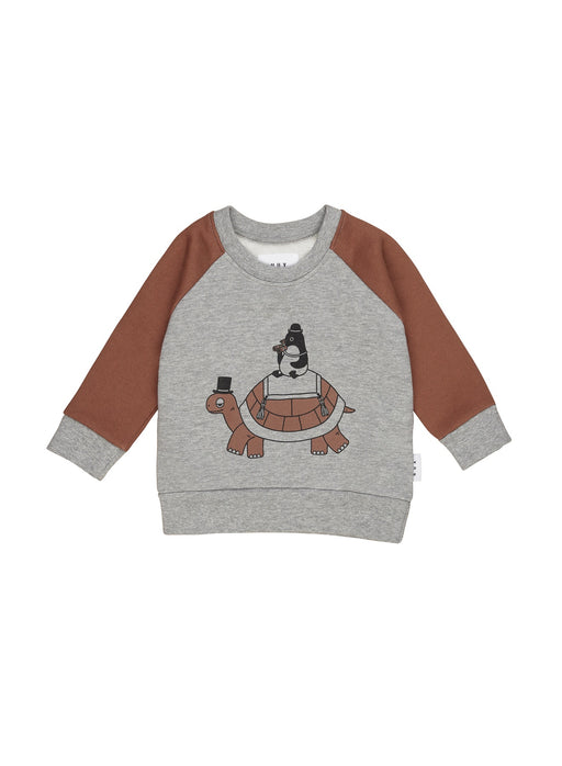 HUXBABY TURTLE SWEATSHIRT GREY MARLE/TIGER