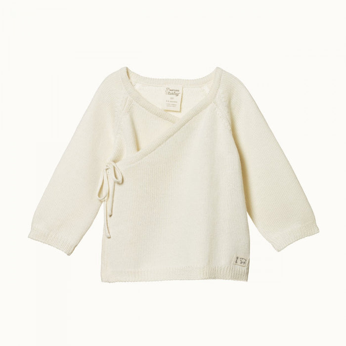 NATURE BABY MERINO KNIT KIMONO JACKET - NATURAL