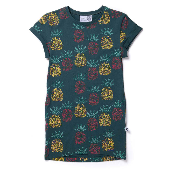 MINTI PINEAPPLES ROLLED UP TEE DRESS