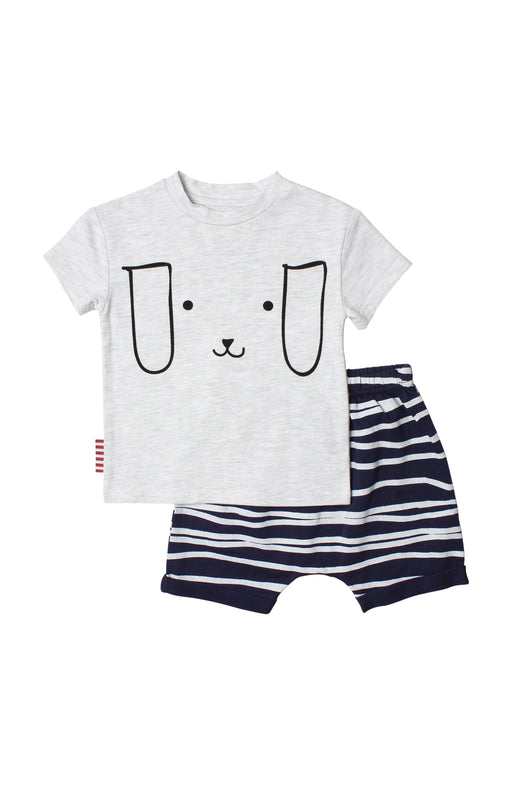 SOOKIBABY PUPPY FACE TEE SHORT SET