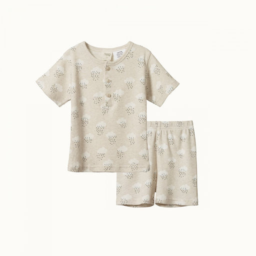NATURE BABY 2 PIECE SHORT SLEEVE RIB PYJAMAS - RAIN CLOUD PRINT