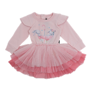 ROCK YOUR KID LONG SLEEVE BEST BUNNIES DRESS ANTIQUE PINK