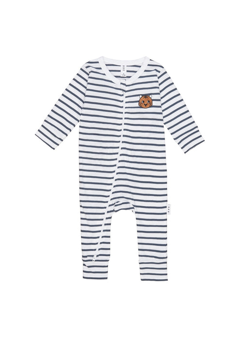HUXBABY STRIPE ZIP ROMPER INK