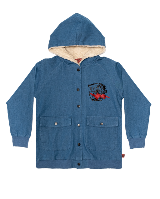 BAND OF BOYS BANDITS BOMBER JACKET LIGHTNING TIGER DENIM BLUE