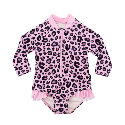 ROCK YOUR BABY PINK LEOPARD L/SLEEVE ONE PIECE