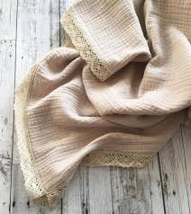 OVER THE DANDELIONS MUSLIN BLANKET LACE TRIM - SAND