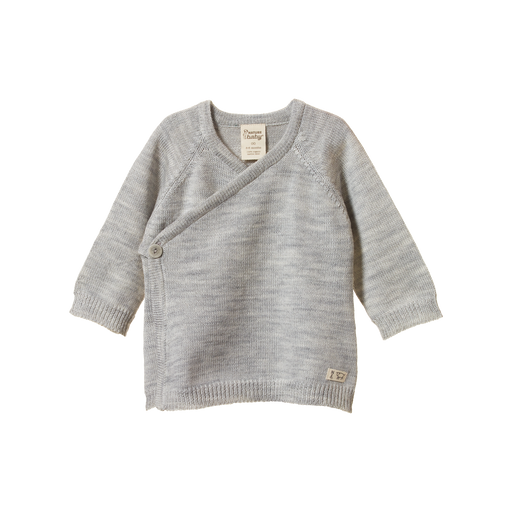 NATURE BABY MERINO KNIT KIMONO JACKET LIGHT GREY MARLE